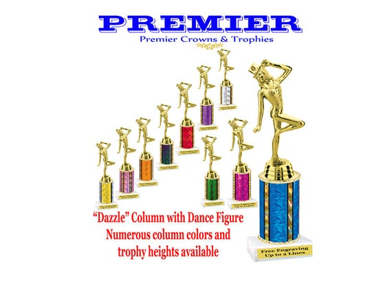 Numerous trophy heights available Dance figure with with choice of column color
