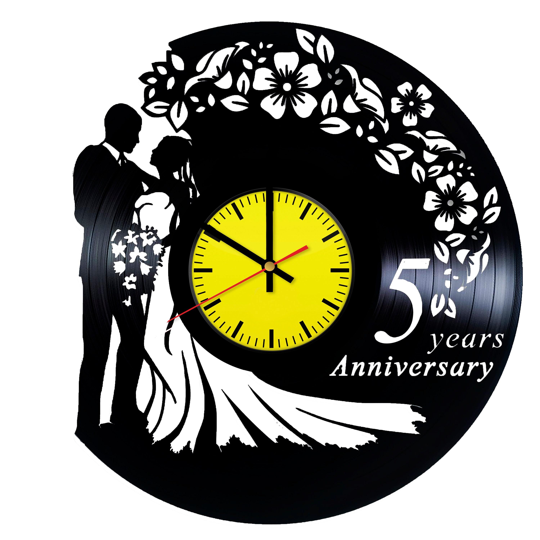 5 Years Anniversary Gift Handmade Vinyl Record Wall Clock | Etsy