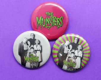 THE MUNSTERS - 30mm/1.25in Button Badges - Individual badges or in a 3-Pack
