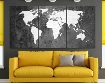World map canvas etsy world map canvas world map art world map poster travel map print world map push pin city decor city poster large print canvas home print dec gumiabroncs Gallery