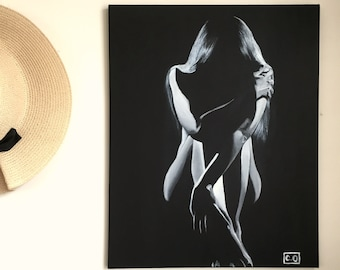 In my loneliness Original Black&White Painting