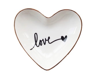 Ceramic   Heart Ring Dish   Personalized Ring Dishes   Wedding Gift   Engagement Gift  