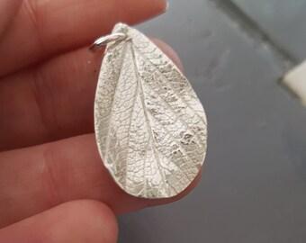 Handmade Fine Silver Leaf Pendant