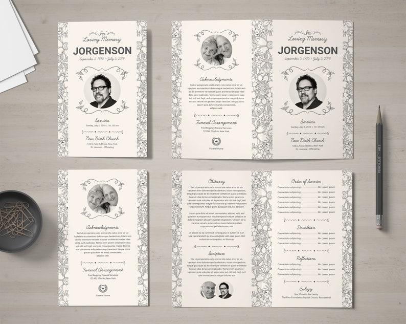 Printable Funeral Program Template Order of Service Memorial Program Template Editable Floral Funeral Program Template Obituary Program