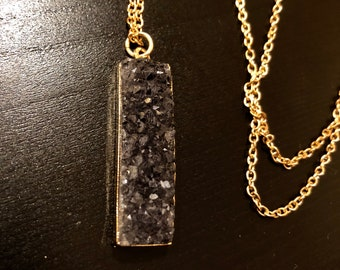 Gold Plated Chain, Long Necklace with Black Crystal like pendant with magnetic clasp.