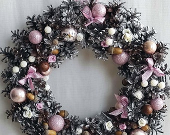 PINK AND SILVER Christmas wreath Entry way christmas Wreath christmas balls Boho christmas decorations Christmas wreath made from pine cones