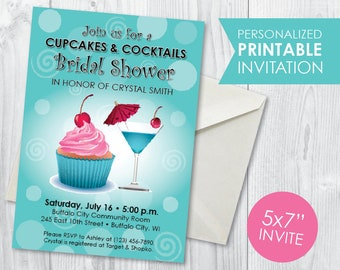 cupcakes cocktails bridal shower invitation