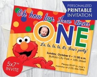 Elmo first birthday invitations Etsy