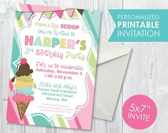 Ice Cream Scoop Birthday Invitation
