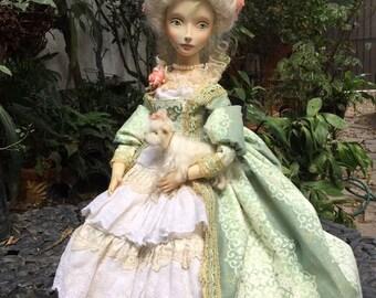 Art wooden doll Elizabeth, Baroque style