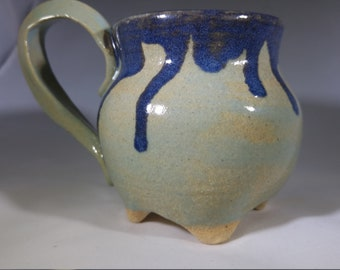 Footed Mug in Green and Blue