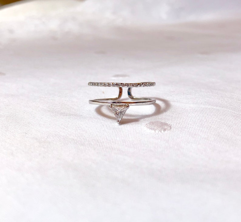 Minimalist Open Rings Rosegold and Silver Open Rings for Women Adjustable Double Rings Stylish Open Rings Silver Delta Double Open Rings