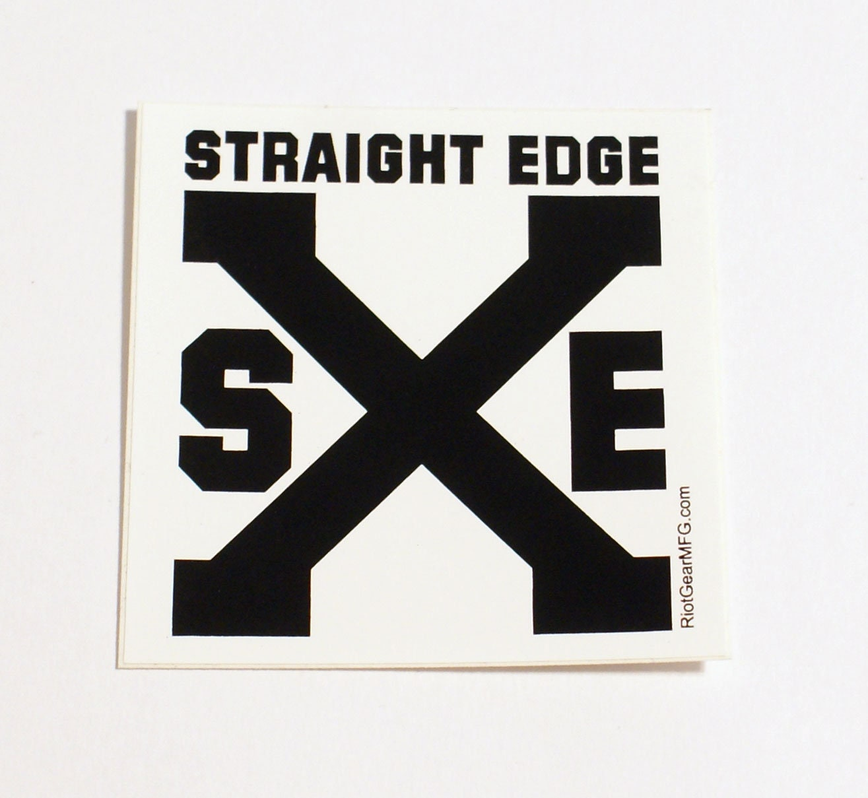Straight edge sxe screen printed vinyl sticker 2 75x2 75 free domestic shipping