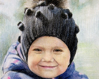 Pencil Baby Portrait Children painting Hand drawn from photo Custom baby portrait