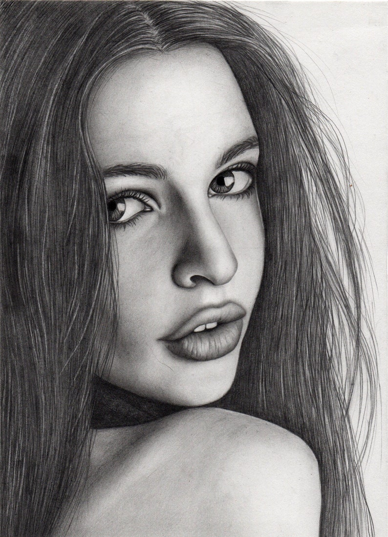Custom portrait painting pencil portrait hand drawn portraits drawing from photo anniversary gift original painting