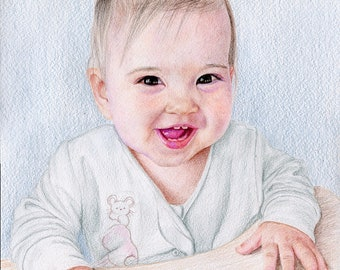 Baby Portrait Custom Portrait from photo Original Art Painting Family portrait Pencil portrait