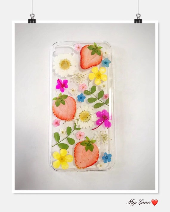 Brilliant Strawberry Phone Case Genuine Pressed Dried Flowers Phone Case Iphone6 6S 7 7Plus 8 8Plus X Crystal Clear Case Annes Lace Chrysanthemum Caraccident5 Cool Chair Designs And Ideas Caraccident5Info