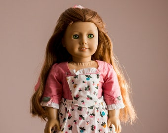 Felicity Merriman Spring Gown with Pinner Apron and Pompon Retired (Outfit Only) American Girl Doll