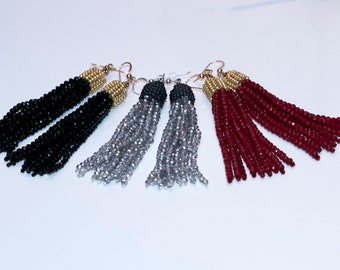 Holiday Faceted Long Crystal TASSEL Earrings w/ beaded edge cap  Gift for Her Birthday Gift