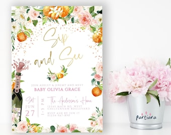 Blue Purple or Pink Peonie Personalized Printable File Sip /& See Invite Baby Girl or Boy from the NORTH