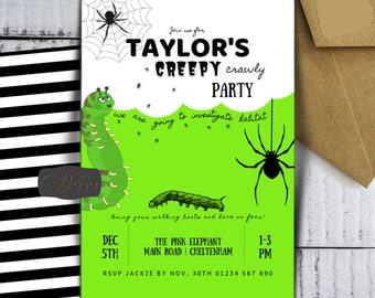 Nature Bug Party Invitation Printable Creepy Crawly Bugs Invite Kids Birthday