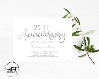 Personalised Silver 25th Wedding Anniversary Invitations Including Envelope WA1