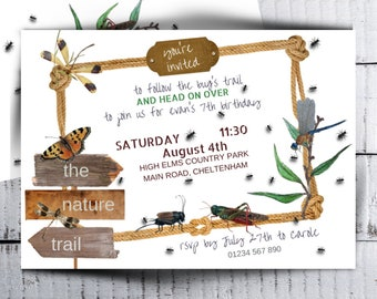 Bug Party Invitation Boys Nature Trail Invite Printable Kids Bugs Life Insects Birthday Invitations PDF