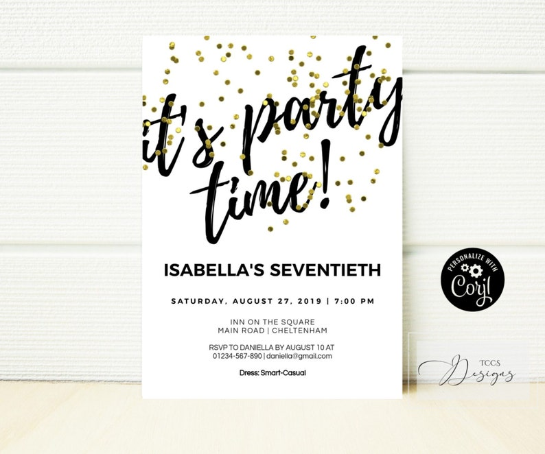 70th Birthday Invitation Printable For Him Or Her Adult Surprise Birthday Party Invites In Black And Gold Monochrome Minimalist Invite