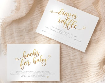 Gold Baby Shower Diaper Raffle Ticket Game Editable Template, Gender Neutral Baby Shower Books for Baby Card Download Printable Boy Girl P16