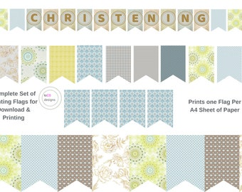CHRISTENING 7 x 10 Inch Bunting Flags | Boys Girls | Garland Flags Pennants Decor | Blues Greys Yellow Gold Polka Dot Gingham Striped Floral