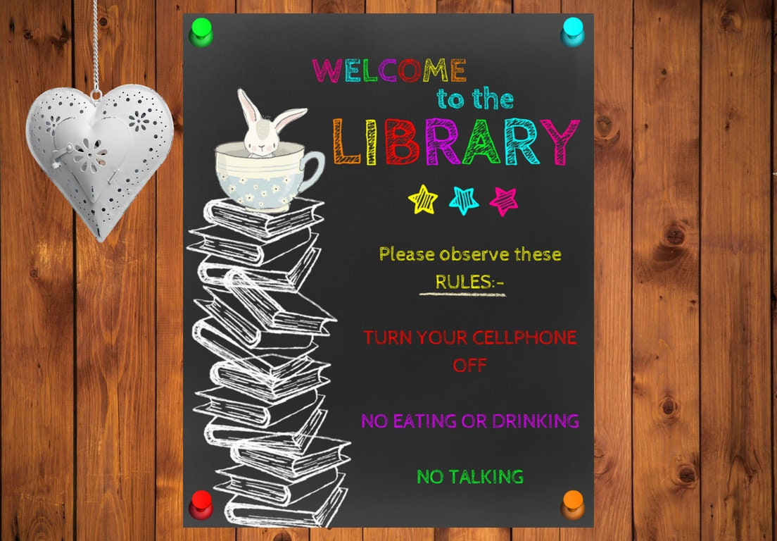 Library Poster Rules School Poster Library Printable