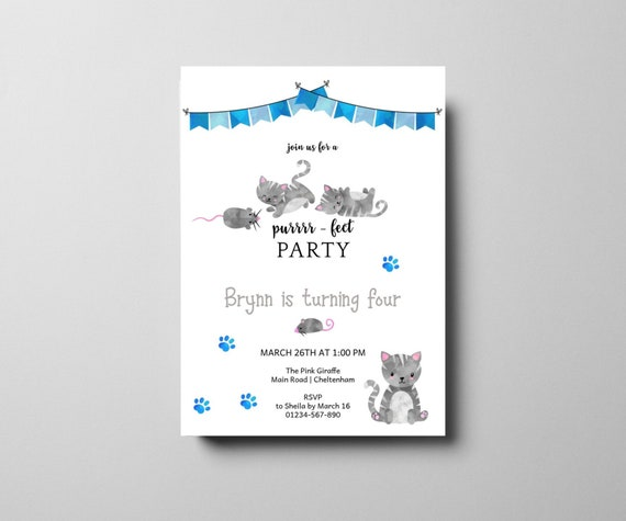 Kitty Cat Birthday Party Invitation Boy S Cute Purrfect Party Invite Template Editable Blue And Grey 4th Birthday Party Invite Download