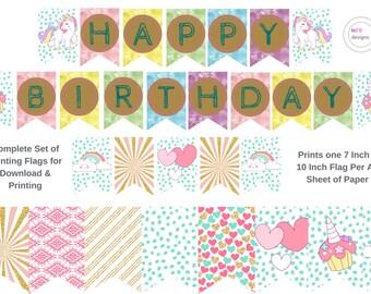 Fab Fun Funky 7 x 10 Inch Bunting Flags | HAPPY BIRTHDAY | Unicorn Rainbow | Garland Party Flags Pennants Decor Birthday Girl Colourful