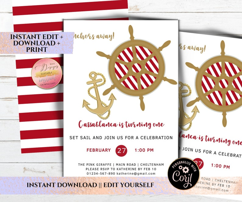 Editable Red Nautical Party Invitation Template Printable Girls Birthday Invite Modern PDF Instant Download C205