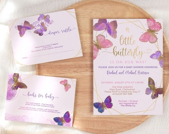 Pink Butterfly Baby Shower Invitation Set Editable Girl Baby Shower Party Printable Invite Bundle with Books for Baby Diaper Raffle Cards P8