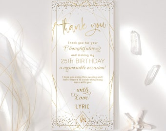 Editable Birthday Thank You Card Menu Style Plate Decor DIY Printable All White and Gold Table Decoration, Wedding Bridal Baby Shower Party