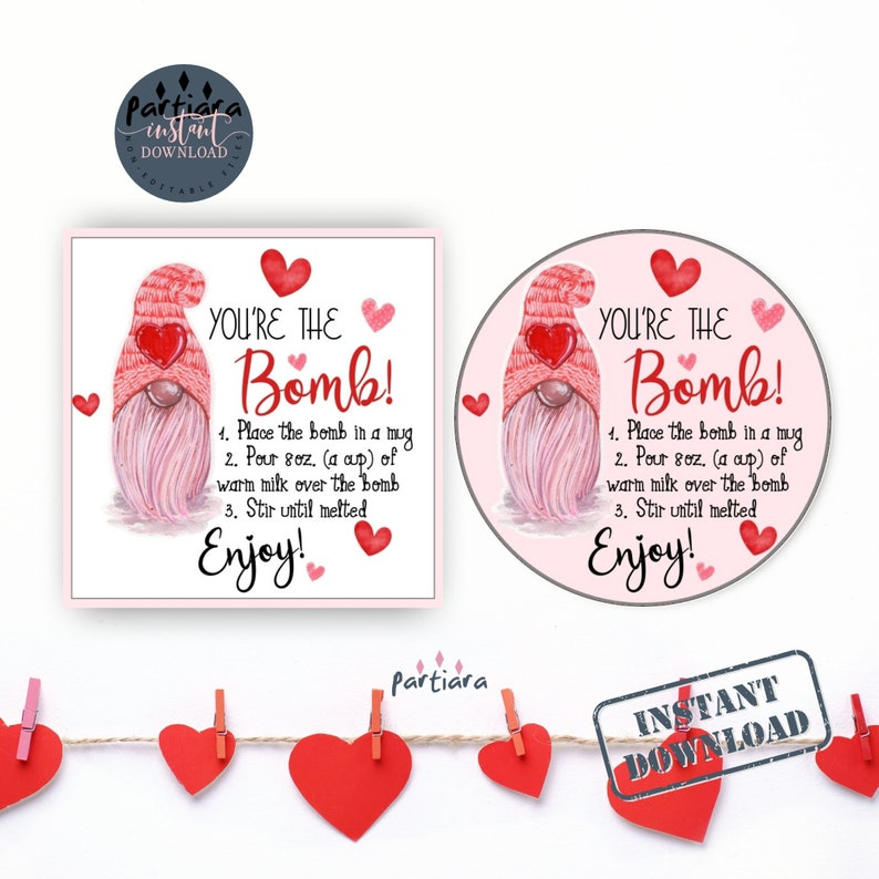 Hot Chocolate Bomb Tag Hot Cocoa Bomb Instructions Favor Gift Tag Printable P121 Instant Download Valentine/'s Day You/'re The Bomb Tags