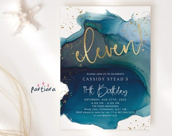 Teal 11th Birthday Invitation Digital Download Blue Gold Eleven Party Invites Editable Boy or Girls Green Surprise Invite Printable P132
