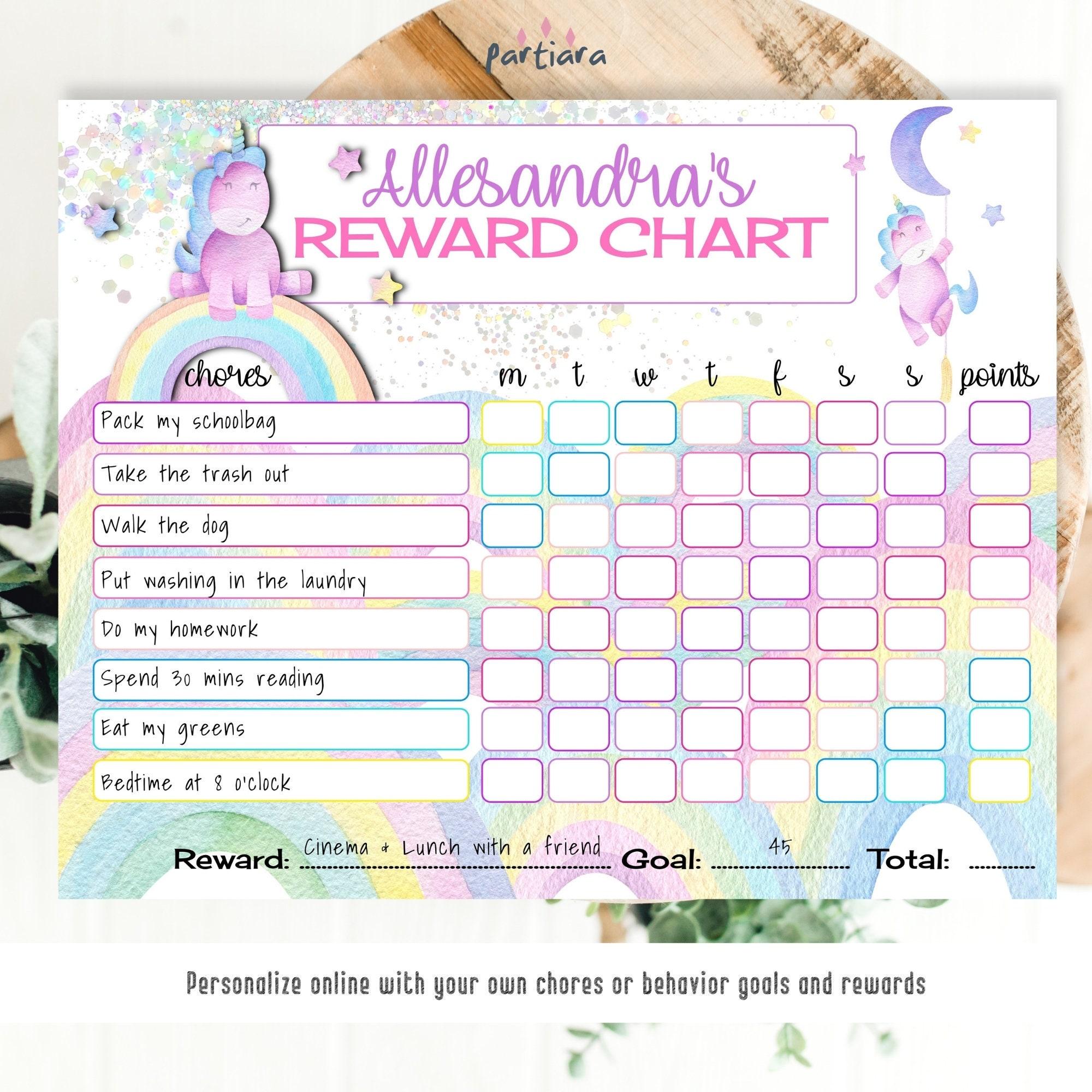 Reward Chart Unicorn PRINTABLE - Children/Kids reward