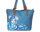 Hand Painted Blue Vegan Leather Large Tote Bag