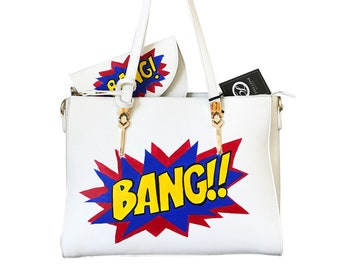 Hand Painted Faux Leather Pop Art Bag