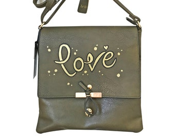 Hand painted faux leather crossbody bag