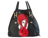 Hand Painted Vegan Leather Black White and Red Bag with Detachable Adjustable Strap