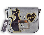 Hand Painted Vegan Leather Small Cross Body Messenger Bag with Cat Design