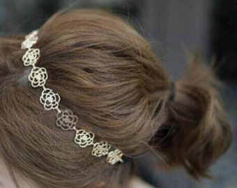 Hollow Rose Flower Gold Metal Chain Flower Hairband Headband Alice Band Elastic Boho
