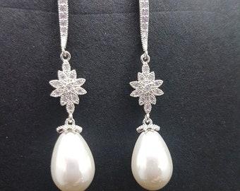 CZ Pearl Long Drop Flower Earrings Drop Dangle Chandelier Silver Vintage Art Deco Wedding Bridal