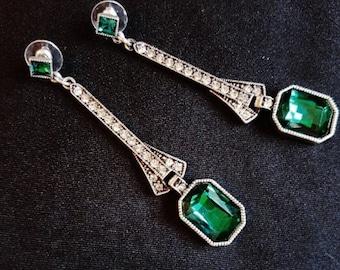 Long Art Deco Vintage style Green Crystal Earrings Silver Rhinestone diamante Drop Dangle Chandelier Earrings