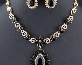 Flower Leaf Statement Jewellery Set Gold Necklace /& Earrings Black Crystal Pendant Bib Collar Vintage Art Deco Rhinestone Wedding Bridal