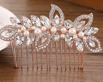 Rose Gold Wedding Rhinestone Hair Clip Bridal Diamante Crystal Slide Comb UK