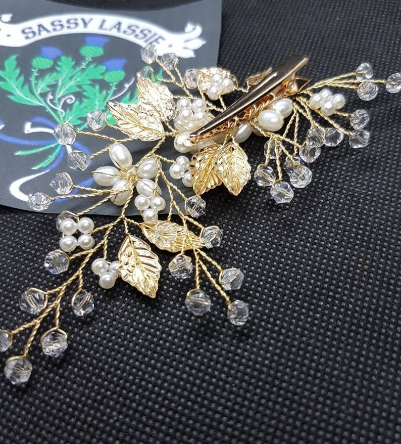 Gold Pearl Crystal Spray Hair Clip Rhinestone Flowers Leaf Vintage Art Deco 1920/'s Side Comb Bridal Wedding Hair Slide Barrette